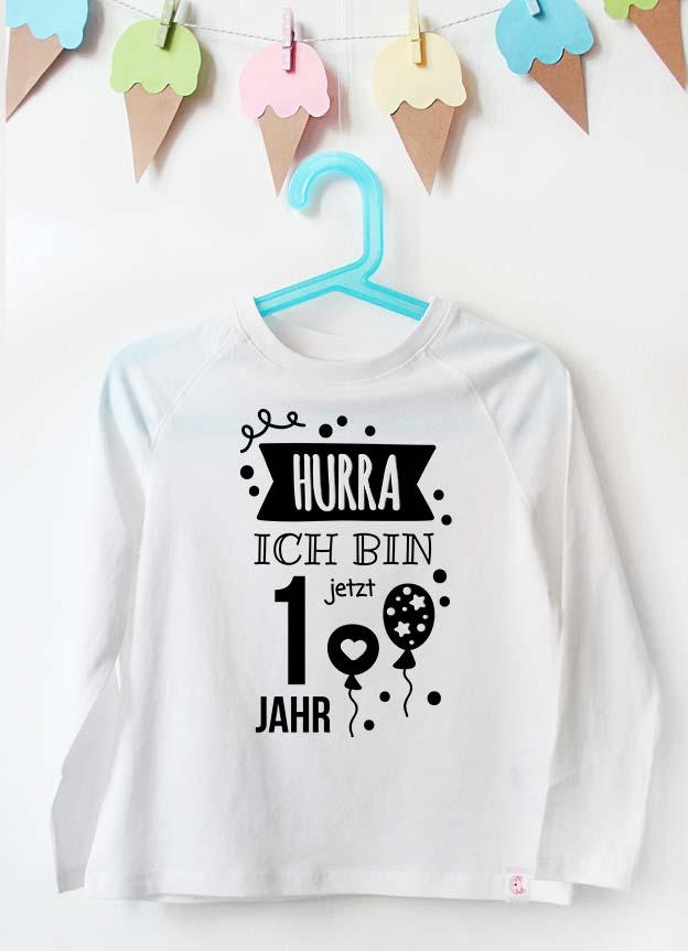 Geburtstag Langarmshirt | Hurra 1 Jahr - weiß & schwarz