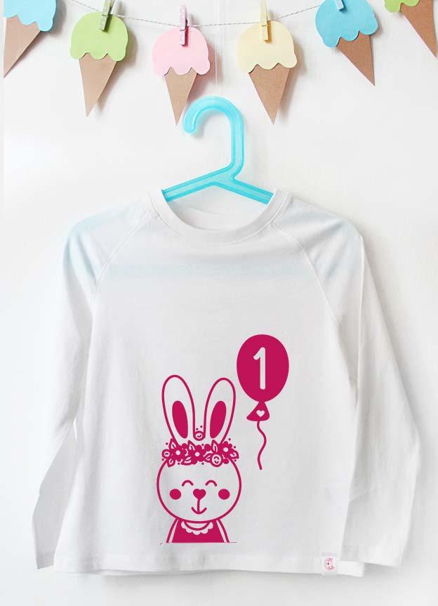 Geburtstag Langarmshirt | Hase 1 Jahr - weiß & pink