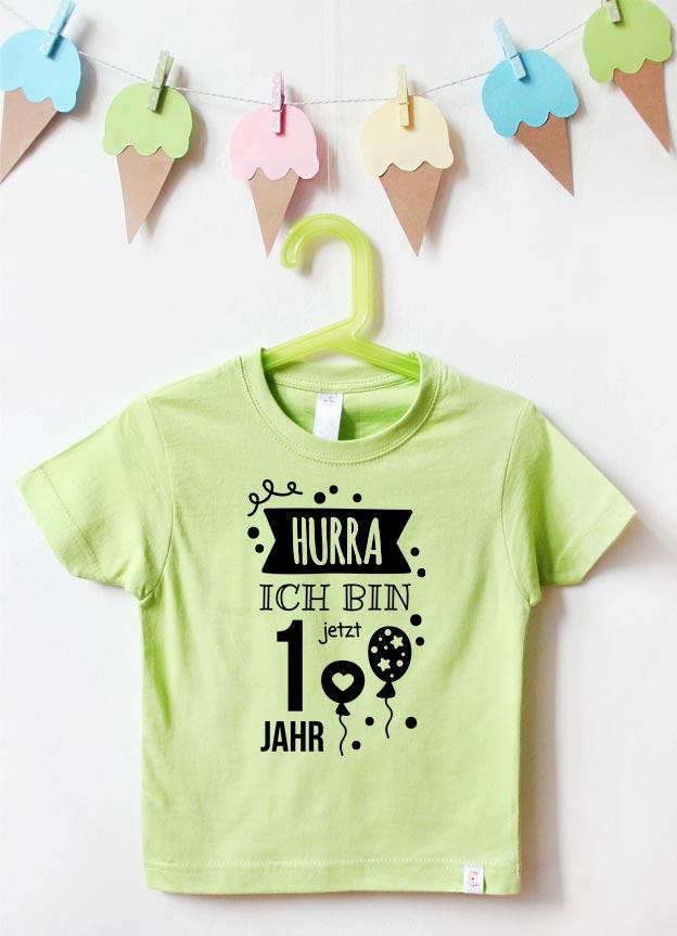 Geburtstagsshirt | Hurra 1 Jahr - grün & schwarz