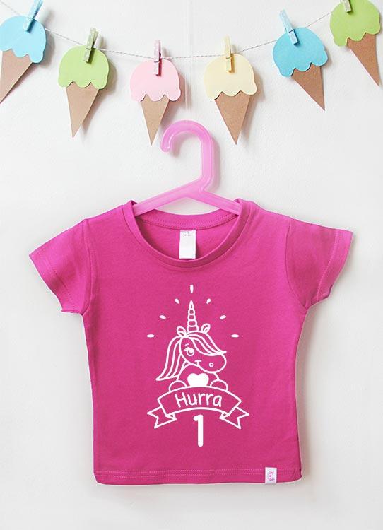 Babyshirt | Einhorn 1 Jahr - pink & weiß