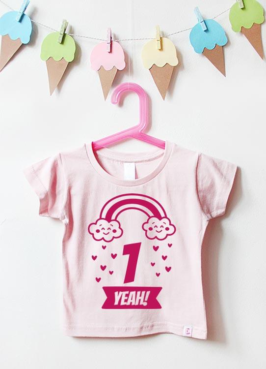 Babyshirt | Regenbogen 1 Jahr - hellrosa & pink
