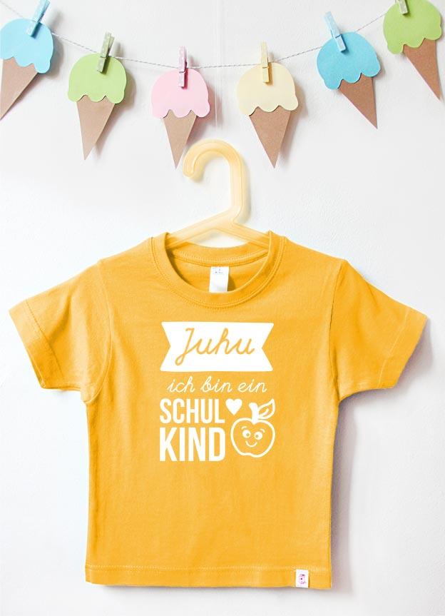 T-Shirt Einschulung | Juhu Apfel - gelb & weiß