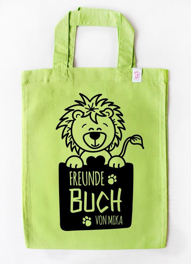 Freundebuch Tasche | Löwe - grün & schwarz
