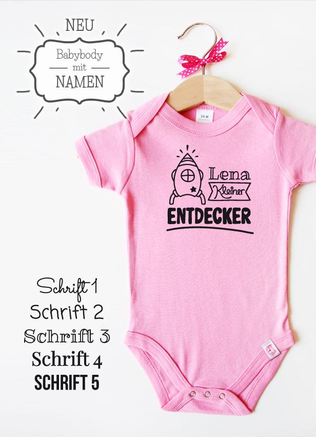 "Babybody rosa - Motiv ""Kleiner Entdecker"""