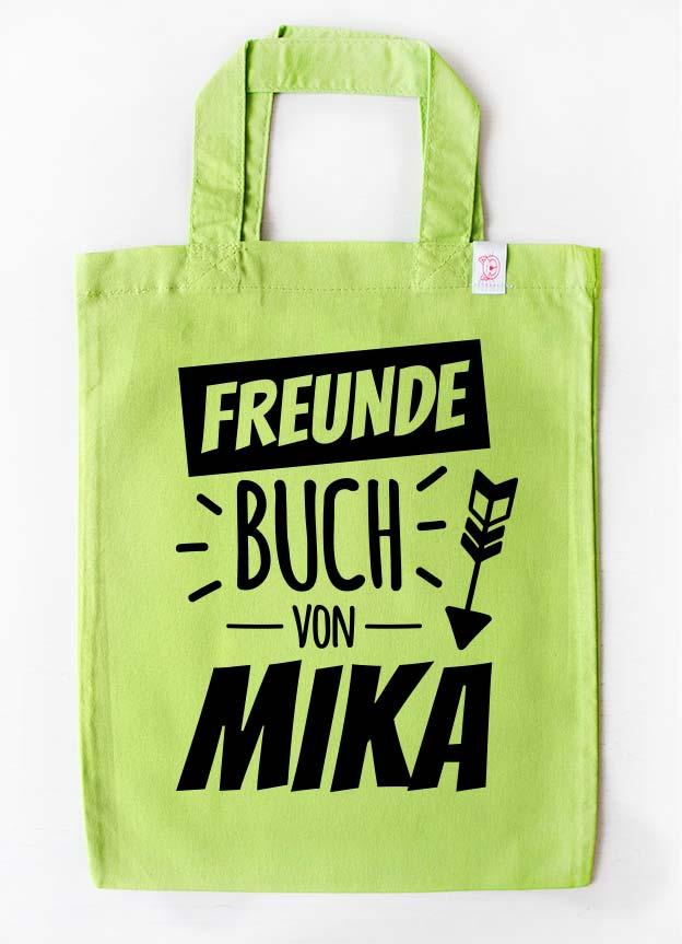 Freundebuch Tasche | Stern - grün & schwarz
