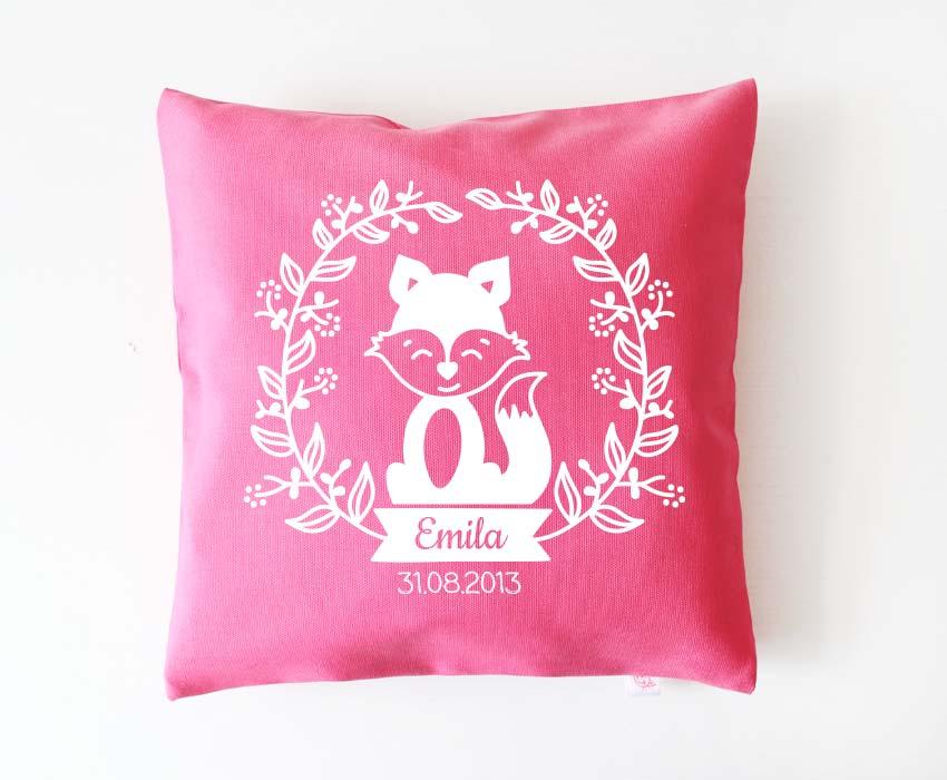 Babykissen - Blumenranke Fuchs - pink& weiß