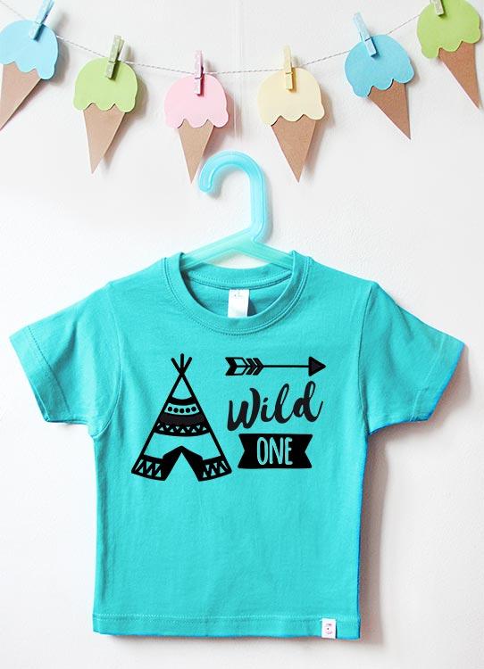 Babyshirt | Wild One Tipi 1 Jahr - türkis & schwarz
