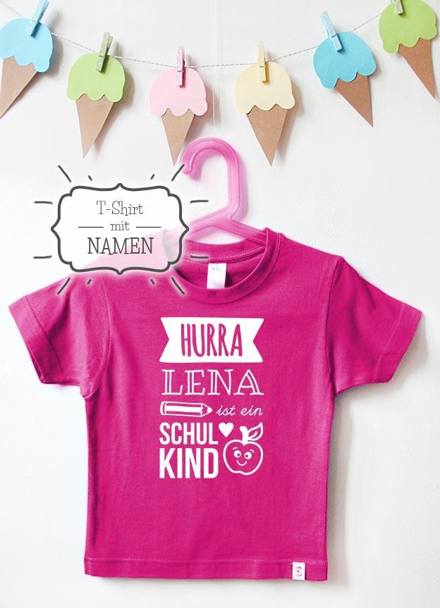 T-Shirt Einschulung Namen   Hurra - pink & weiß