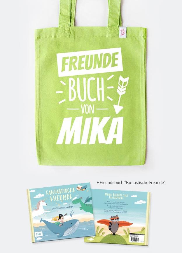 Freundebuch Set | Pfeil - grün & weiß