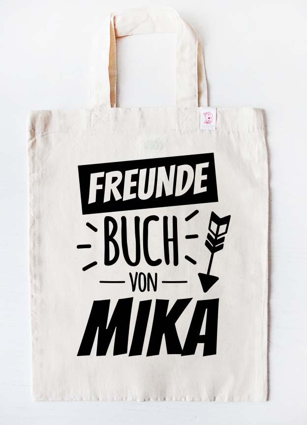 Freundebuch Tasche | Stern - beige & schwarz