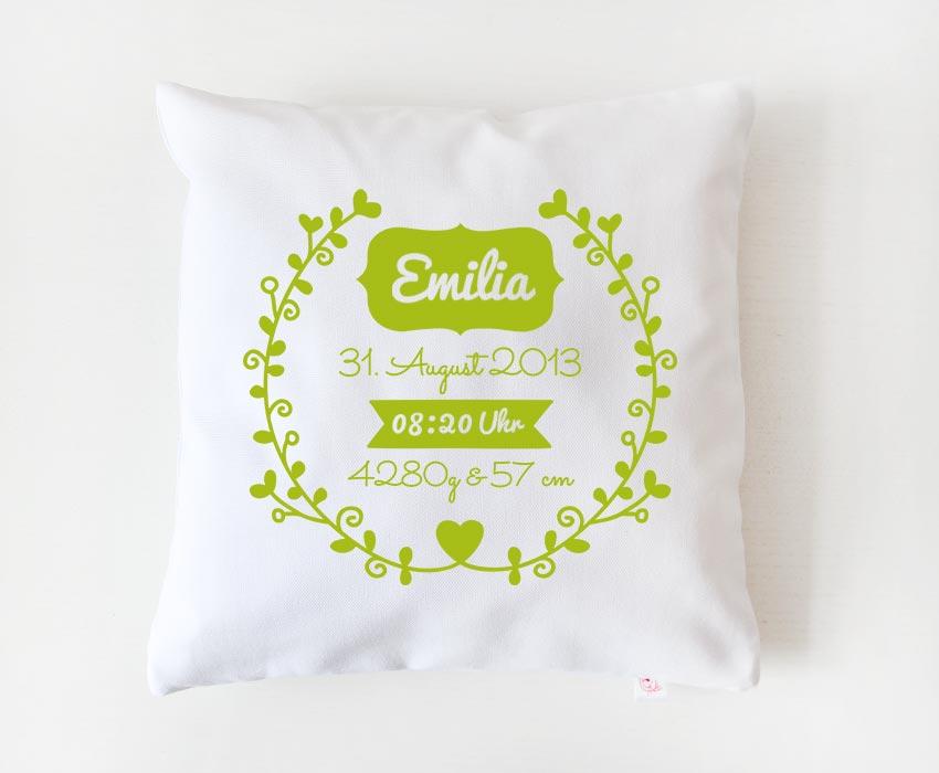Babykissen | Blumenranke - weiß & grün