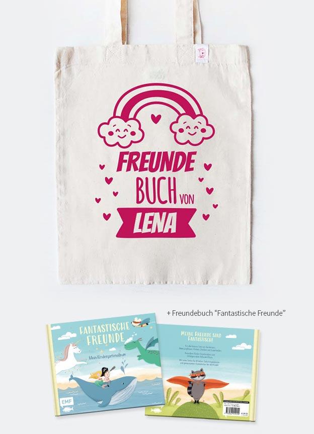 Freundebuch Set | Regenbogen - beige & pink