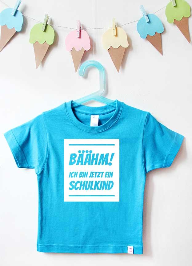T-Shirt Einschulung | Bäähm - türkis & weiß