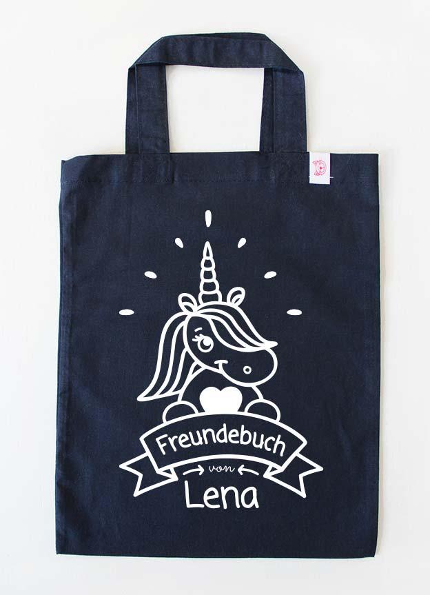 Freundebuch Tasche | Einhorn - dunkelblau & weiß