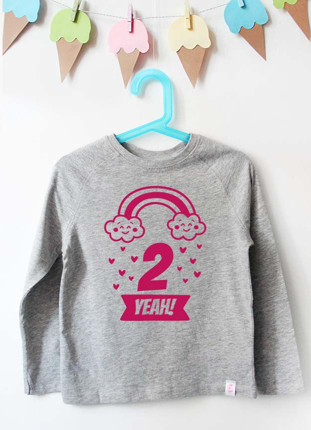 Geburtstag Langarmshirt | Regenbogen 2 Jahre -  grau & pink