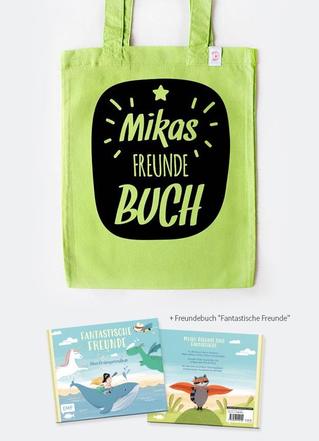 Freundebuch Set | Stern - grün & schwarz
