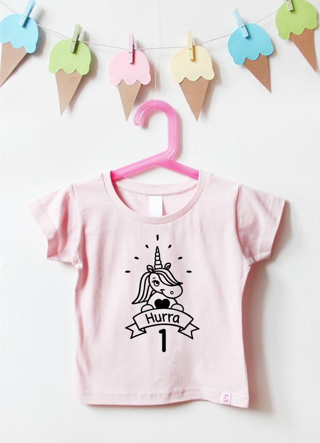 Geburtstagsshirt | Einhorn Hurra 1 Jahr - hellrosa & schwarz