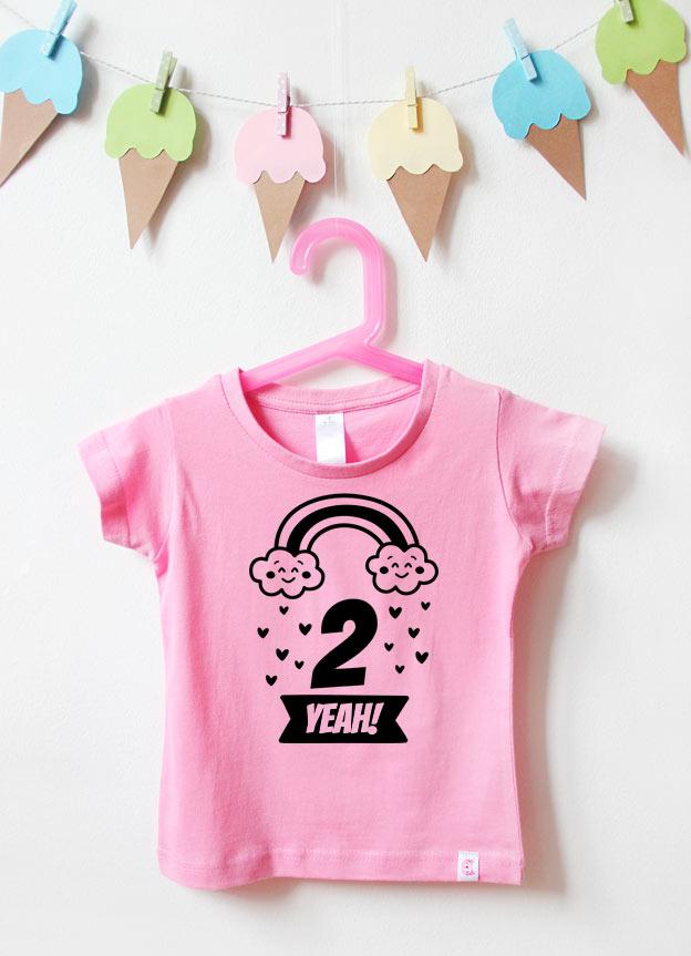 T-Shirt | Regenbogen 2 Jahre  - rosa & schwarz