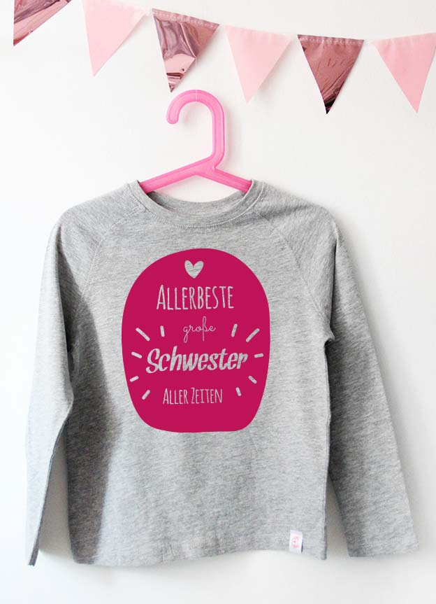 Geschwister Kollektion | Langarmshirt - Allerbeste große Schwester - grau & pink