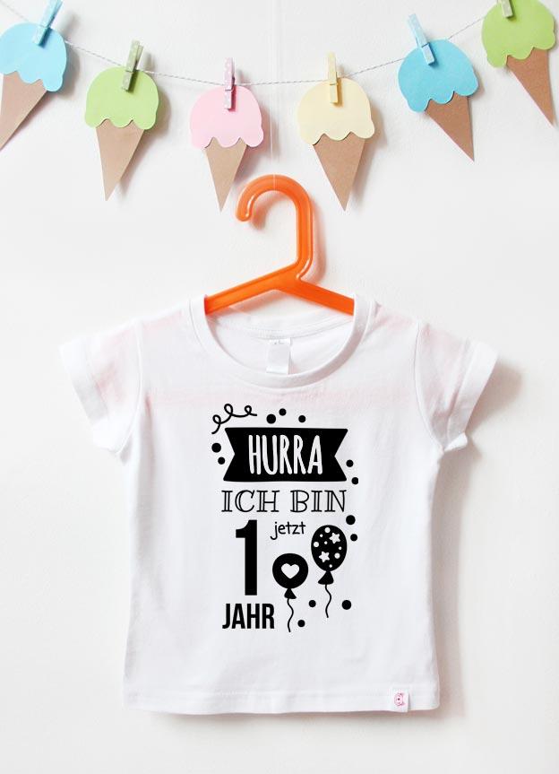 Geburtstagsshirt | Hurra 1 Jahr - weiß & schwarz