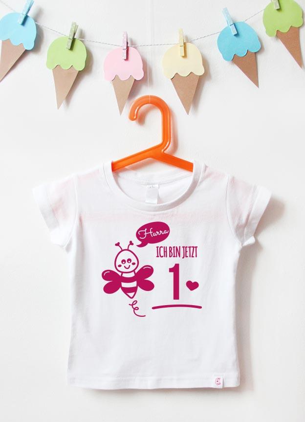 Geburtstagsshirt | Biene 1 Jahr - weiß & pink