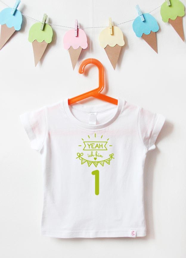 Geburtstagsshirt - Yeah 1 Jahr - weiß & grün