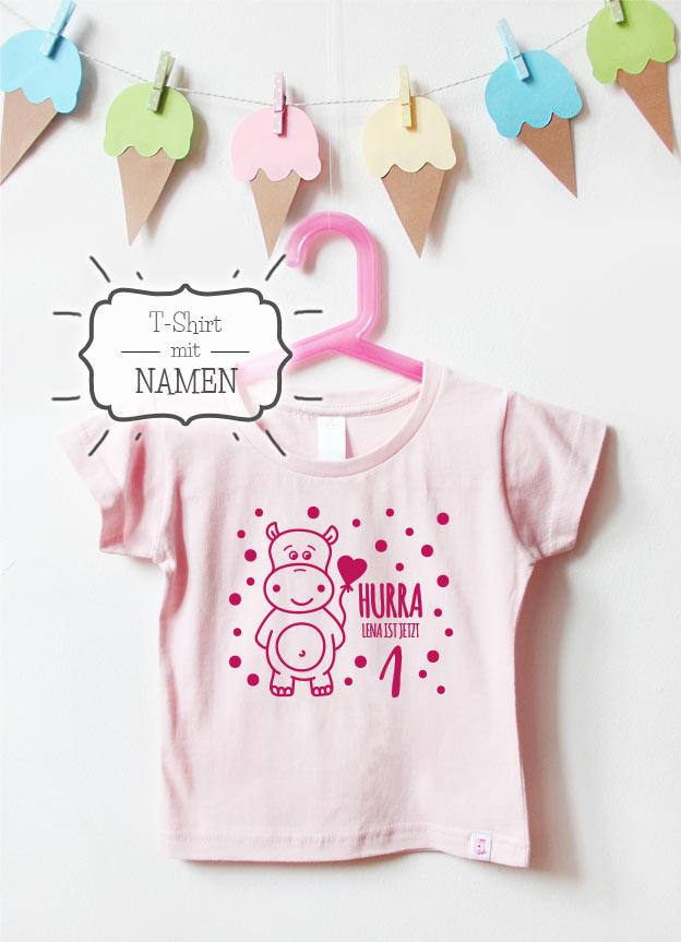 Geburtstagsshirt Namen | Hippo 1 Jahr - hellrosa & pink