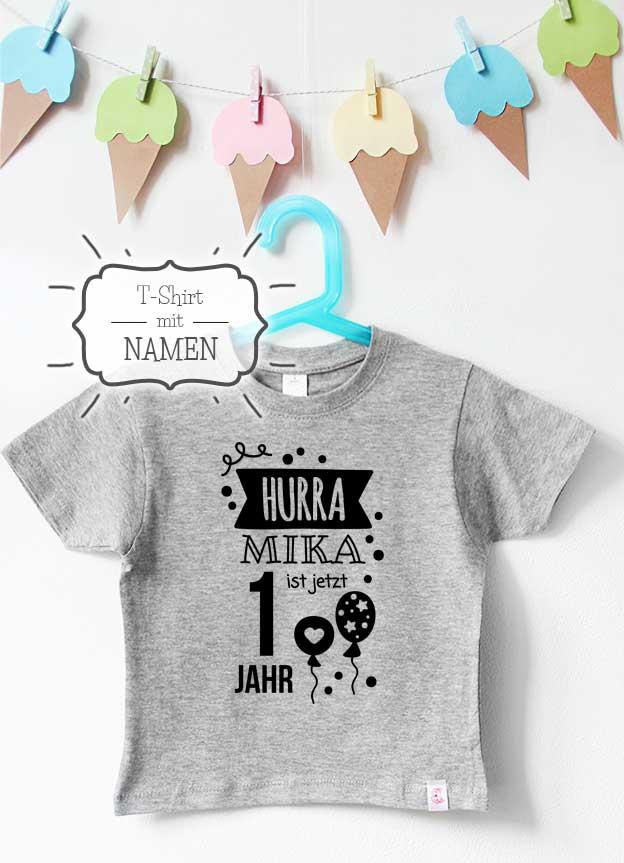 Geburtstagsshirt Namen | Hurra 1 Jahr - grau & schwarz