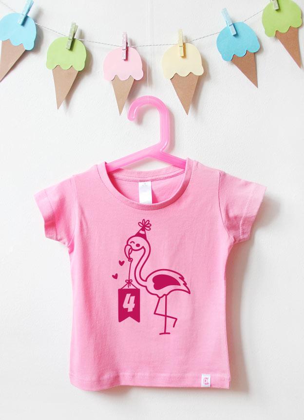 Geburtstagsshirt | Flamingo 4 Jahre - rosa & pink