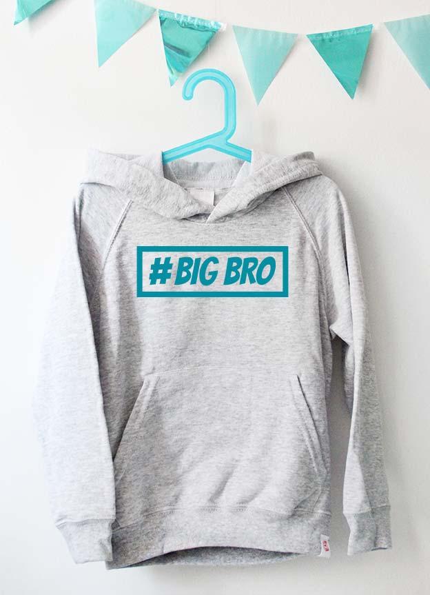 Geschwister Kollektion | Hoodie - Hashtag big bro - grau & türkis