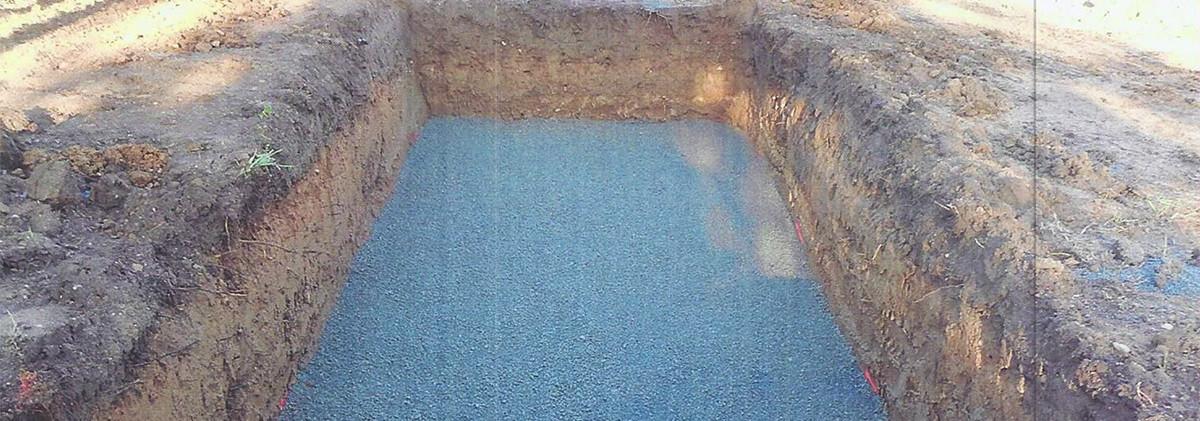 Filière d'assainissement individuel ENVIROSEPTIC - fond de fouille sablé