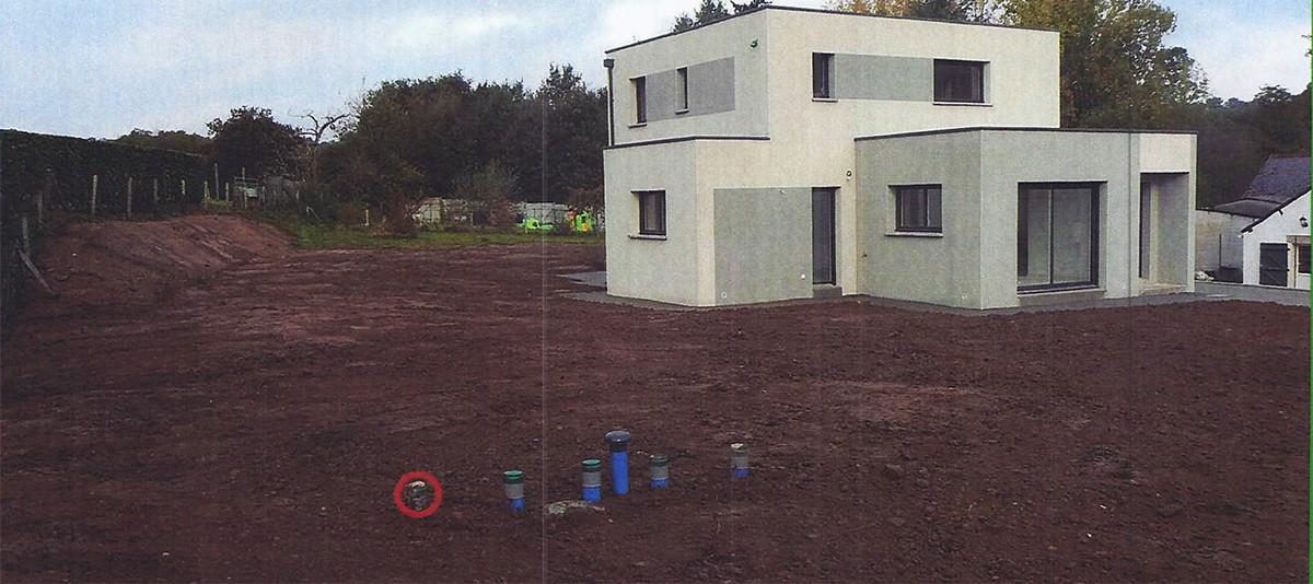 Filtre à sable ENVIROSEPTIC : terre végétale 20 cm, pente écoulement eaux de pluie