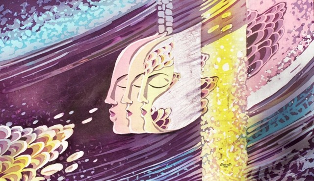 """Путешествия душ"", горячий батик, р-р 43Х72, 2015г. В НАЛИЧИИ"