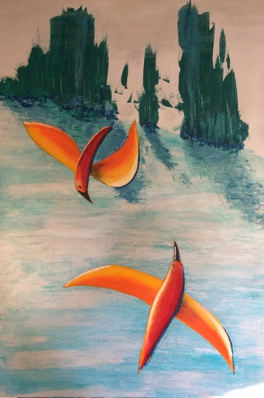 """""""Circling Sea Birds"""" 61cm x 91cm Acrylic on canvas $150 (excluding freight)"""