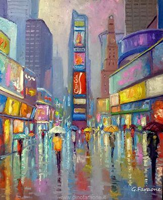 """""""Times Square NY"""" olio su tavola 50x40 Giuseppe Faraone"""