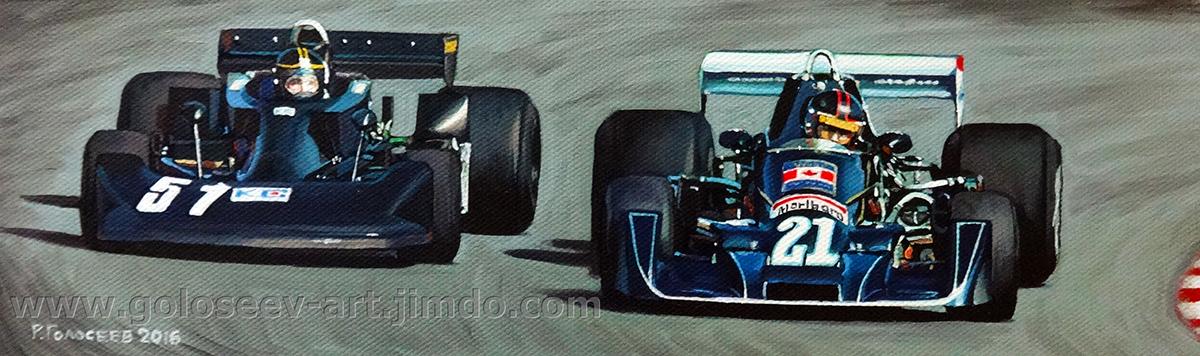 """""""Масахиро Хасэми, Kojima KE007 и Масами Кувасима, Wolf Williams FW05, Гран При Японии, Фудзи, 1976"""", 9х28, картон,масло, 20.05.2016"""