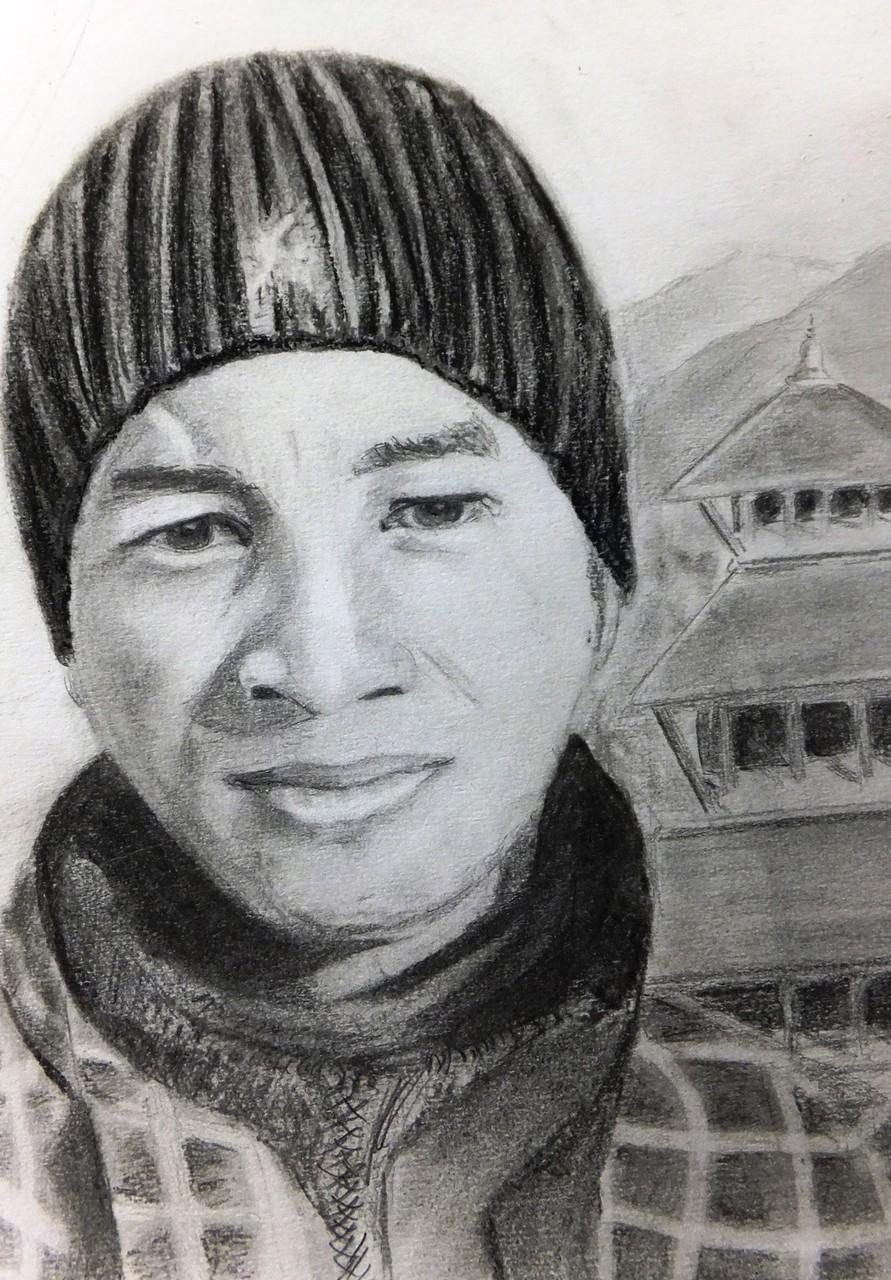Basanta. Fusain , crayon, pastel  sur papier 21 x 29,7  par B C Ruiz d'après photo personnelle. Encadrement à la demande
