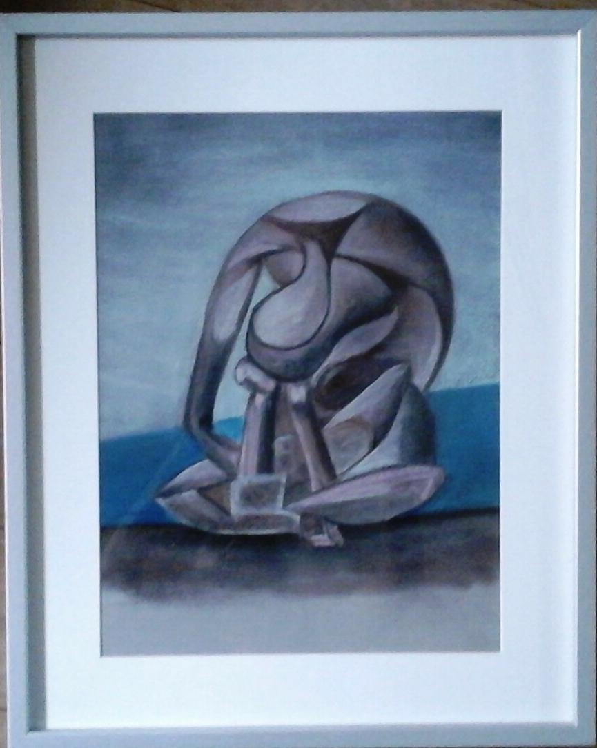 Grande baigneuse au livre, 30 x 32 pastel sur papier Canson demi-teinte .par B C Ruiz d'après  Picasso. 70 €  . Encadré