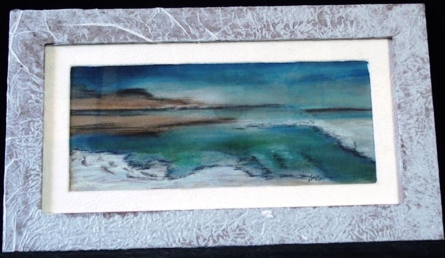 Entre Ciel et Terre 12    Mer morte   ; pastel sur papier Kraft . Encadré  80€