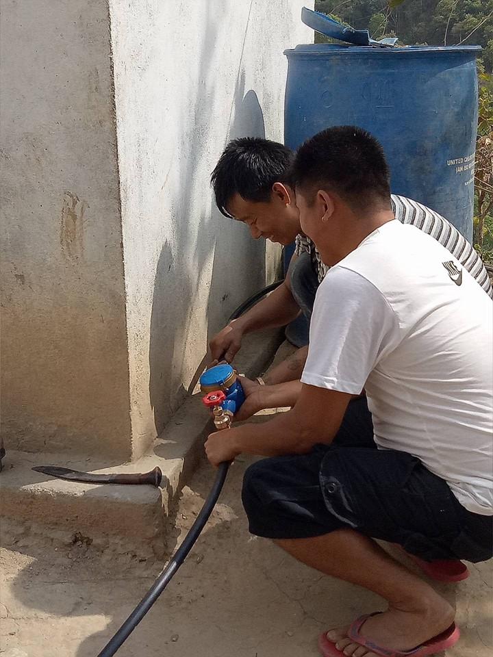 Avril 2018, installation d'un compteur à chaque maison