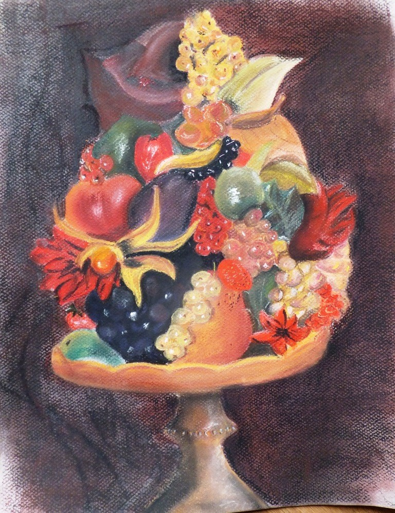 Nature morte aux fruits. 31 x 40 Pastel sur papier Canson demi-teinte .par B C Ruiz d'après  photo.60€ non encadré (encadrement sur demande)