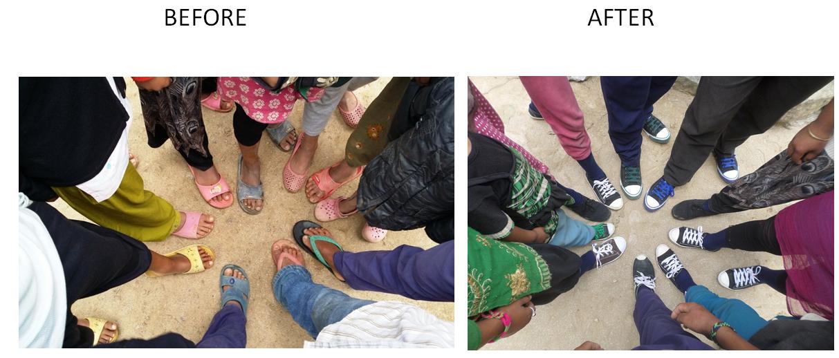2015:Les enfants ravis de nous montrer la différence!