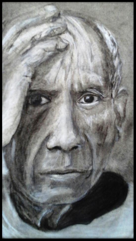 PABLO.  Crayon , fusain et craie. sur papier  Par B C Ruiz d'après photo N/B. 14 x 21  encadré 45€