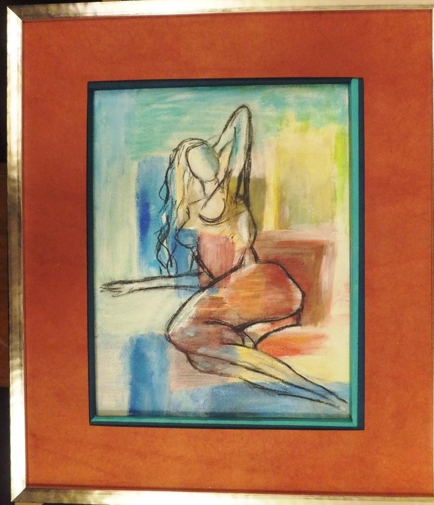 Nu 2; Acrylique  sur carton entoilé. 26,5 x 35 . Reproduction d'après photo couleur .Encadré  90€