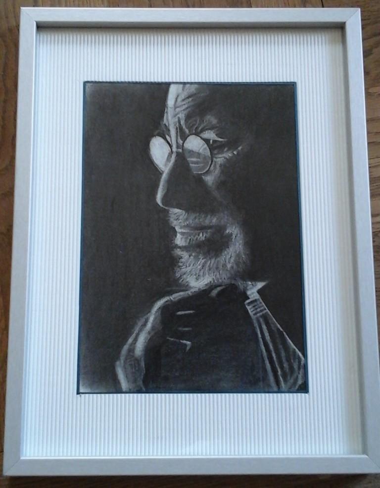 Spielberg.Fusain , crayon, pastel  sur papier 21 x 29,7  par B C Ruiz  d'après photo N/B . Encadré 100€