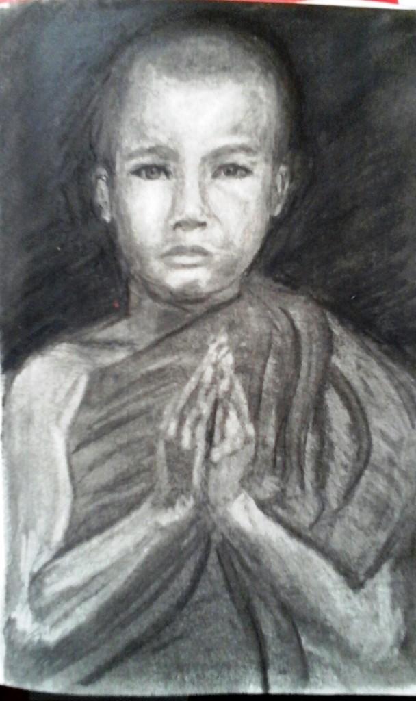 Jeune moine.Crayon , fusain sur papier. 14 x 21.  par B C Ruiz    Encadré  50€