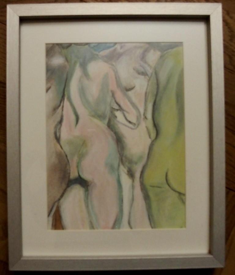 Pastel sur papier  23 x31,par B C Ruiz  d'après Felix Valloton. Encadré. 50 €