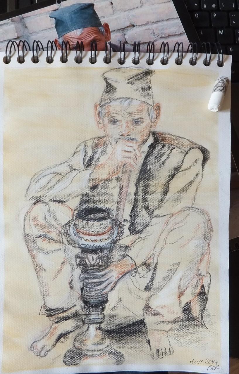 Bhaktapur 3; Craie, fusain, sanguine sur papier par B C Ruiz .   21/x 29,7    80€ (+ Encadrement à la demande)