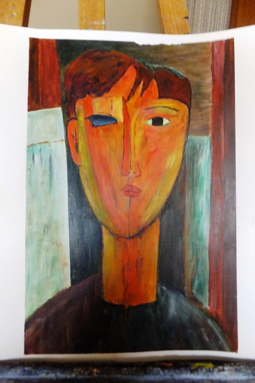Acrylique sur papier.  34 x 46cm  40€ Encadrement à la demande. Reproduction d'après photo couleur d'une oeuvre de Modigliani par B C Ruiz.