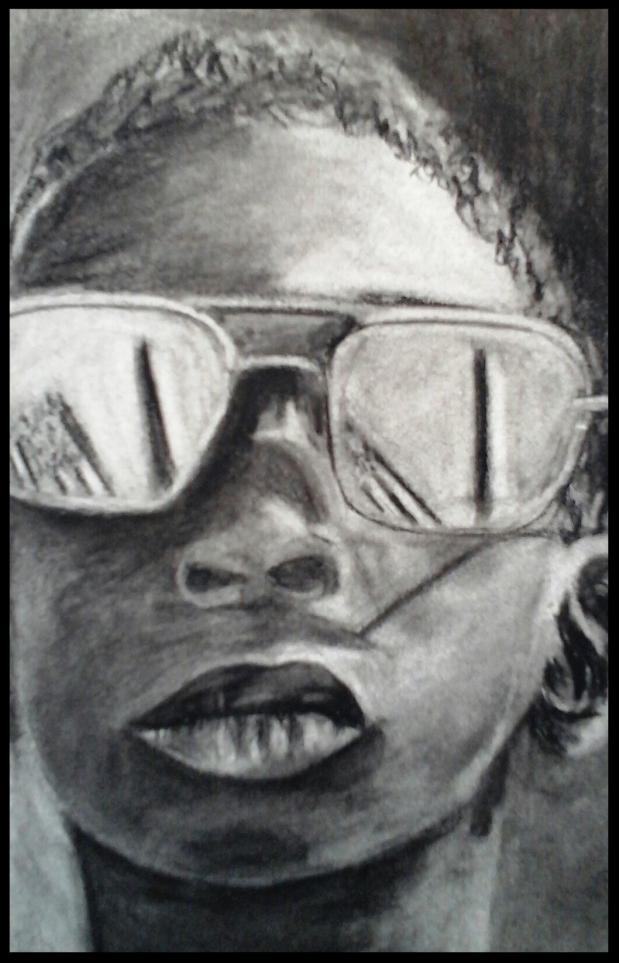 Jordan.Crayon , fusain et craie. sur papier d'après photo N/B. 14 x 21  par B C Ruiz  50 € encadré